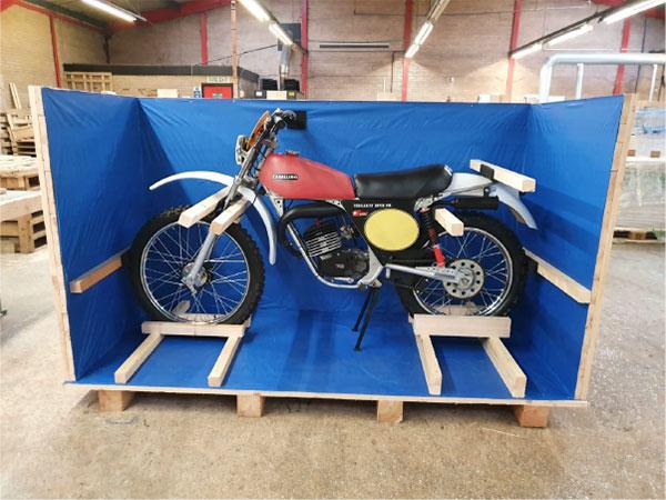 Motorbike on custom pallet bound for Japan